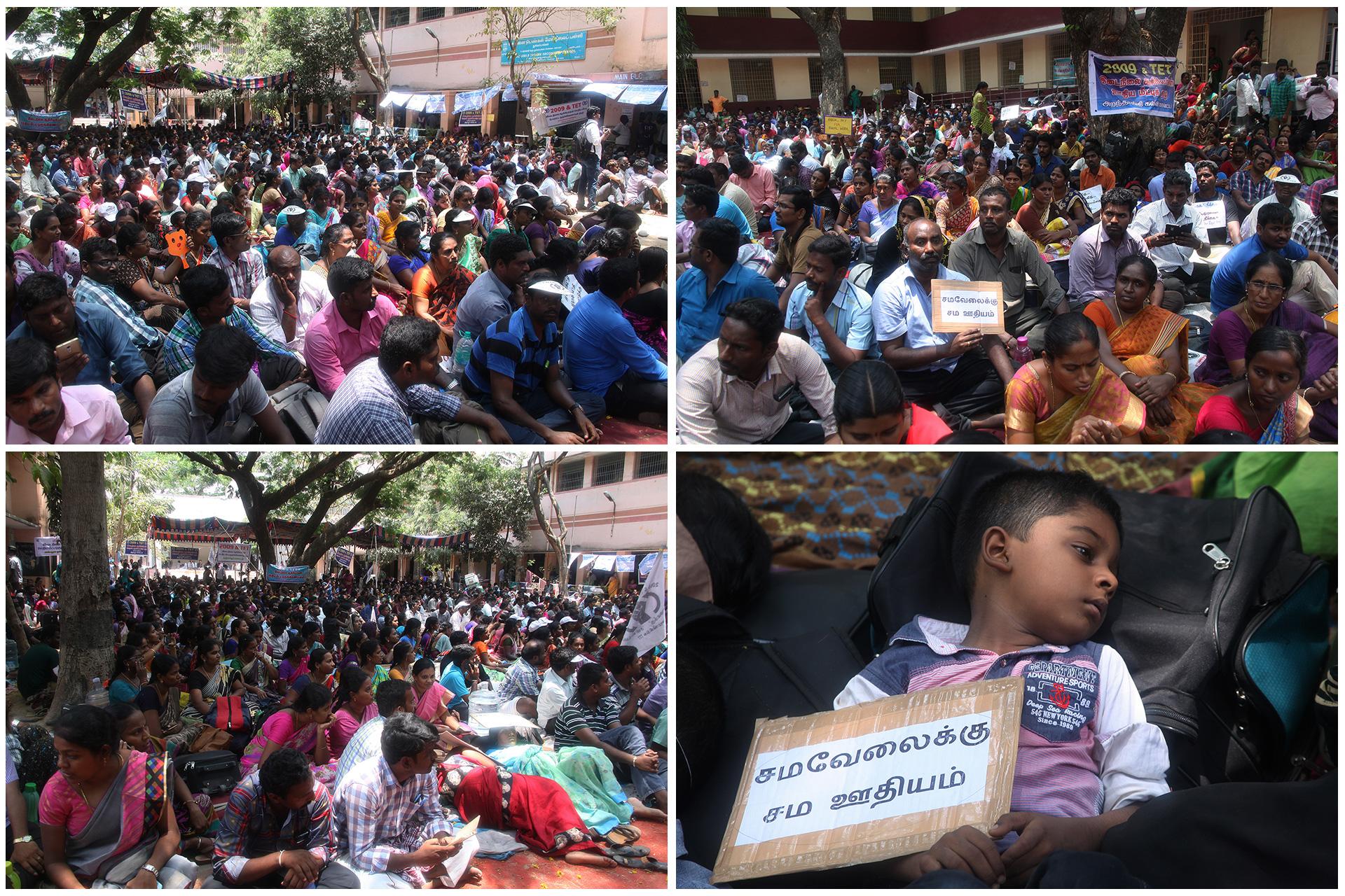 ஊதிய முரண்பாடுகளைக் களையக்கோரி இடைநிலை ஆசிரியர்கள் தொடர் போராட்டம் – சீமான் நேரில் ஆதரவு TET Secondary Teachers Protest Equal Pay For Equal Post Chennai Seeman Support