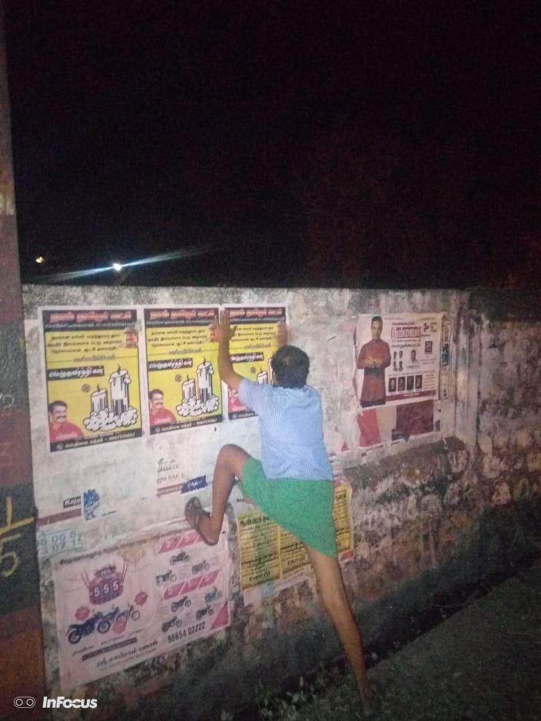 நாடாளுமன்ற தேர்தல்-சுவரொட்டிகள் ஒட்டும் பணி