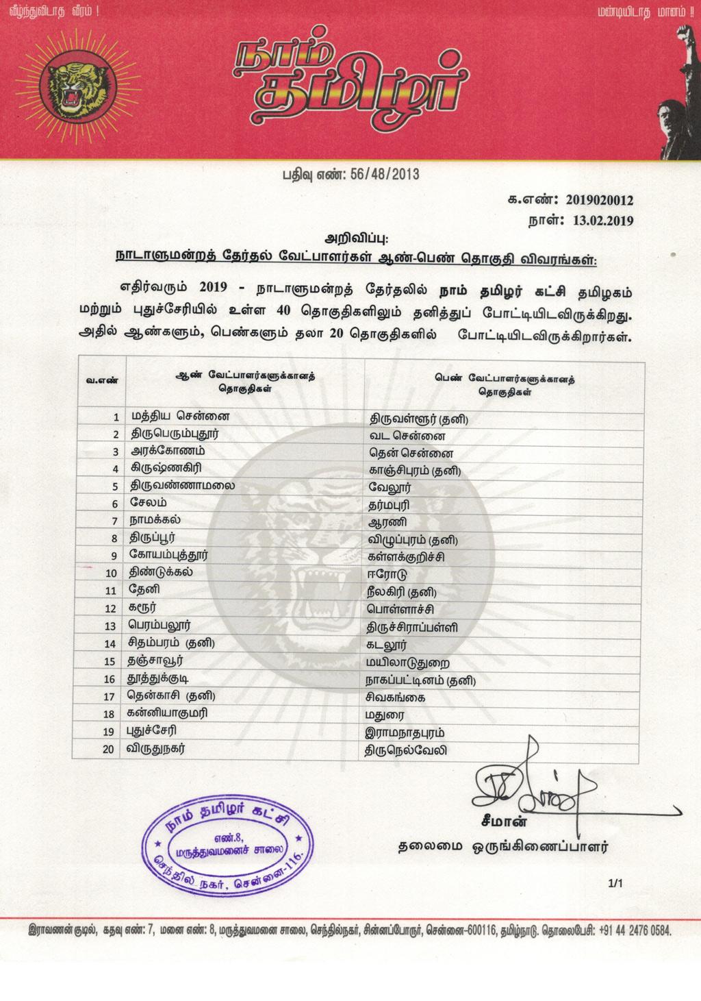 அறிவிப்பு:நாடாளுமன்றத் தேர்தல் ஆண்-பெண் வேட்பாளர்களுக்கான தொகுதி விவரங்கள்